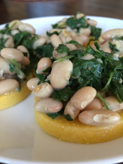 Polenta Crostini with White Beans and Kale